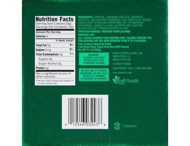Dentyne Spearmint Chewing Gum - 60 piece jumbo pack, 24 per case