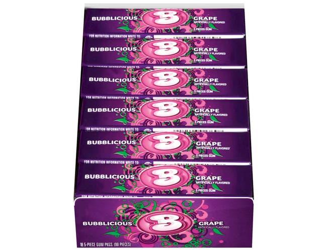 Bubblicious Gonzo Grape Bubble Gum - 5 piece pack, 144 per case