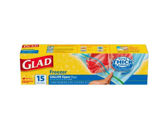 Glad Gallon Freezer Zipper Bag, 15 count per pack -- 12 per case.