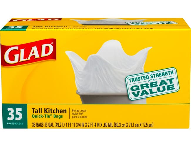 Glad Quick Tie Tall Kitchen Trash Bags, 35 count per pack -- 12 per case.