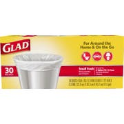 Glad Flat Top Small Garbage Bag, 30 count per pack -- 6 per case.
