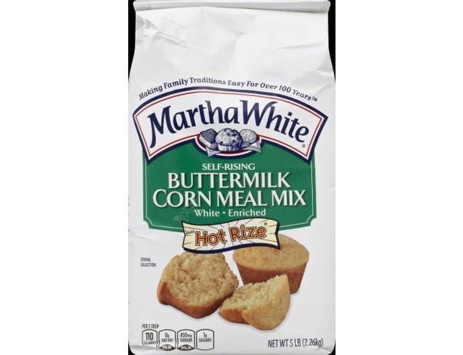 Martha White Buttermilk Self Rising Enriched White Corn Meal Mix, 5 Pound -- 8 per case.