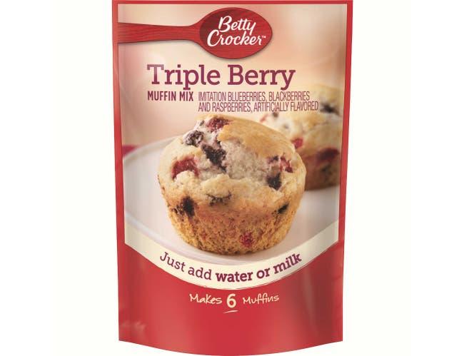 Betty Crocker Triple Berry Muffin Mix, 6.5 Ounce -- 9 per case.