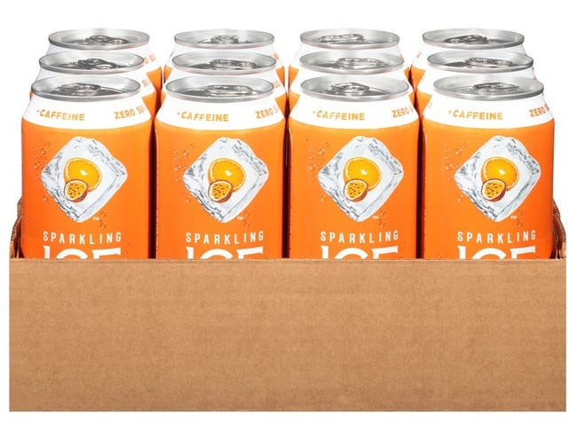Sparkling Ice Caffeine Orange Passionfruit Sparkling Water, 16 Fluid Ounce Can -- 12 per case.