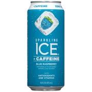 Sparkling Ice Caffeine Blue Raspberry Sparkling Water, 16 Fluid Ounce Can -- 12 per case.