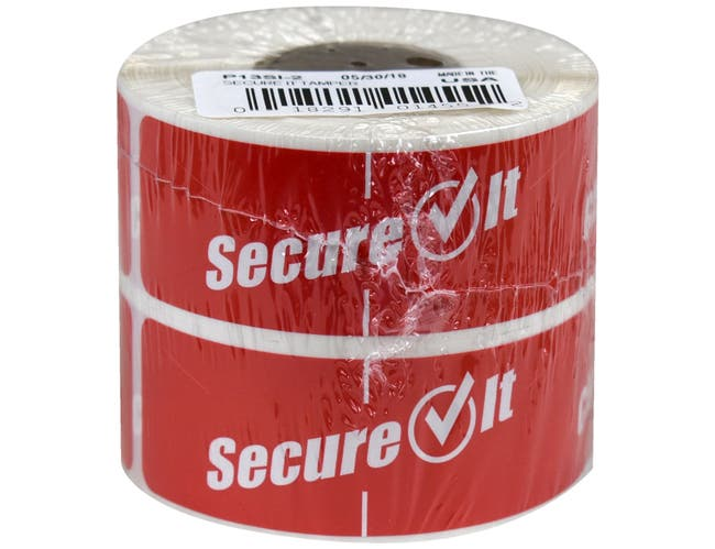 National Checking Secure It Red Permanent Label, 1 x 3 inch -- 2 rolls per case