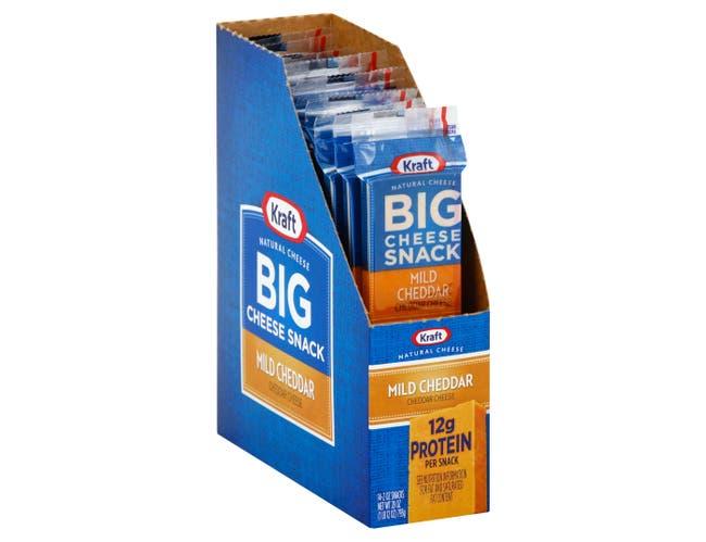 Kraft Mild Cheddar Big Cheese Snack, 2 Ounce -- 28 per case.