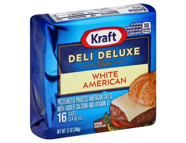 Kraft Deli Deluxe American White Sliced Cheese, 12 Ounce -- 12 per case.