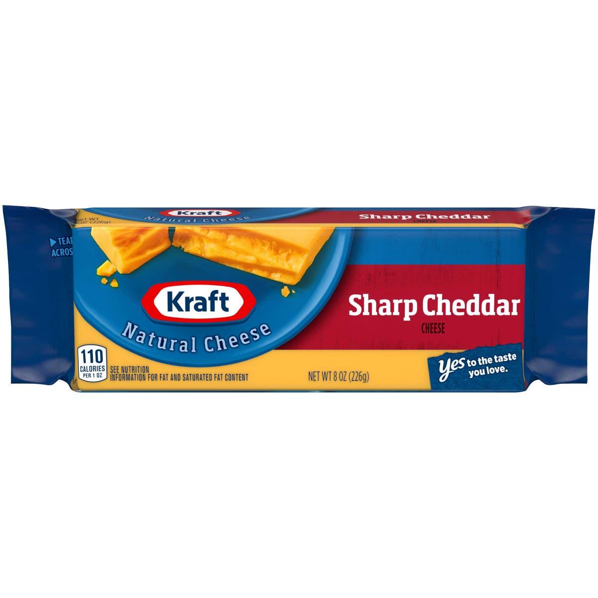 Kraft Sharp Cheddar Chunk Cheese, 8 Ounce -- 12 per case.
