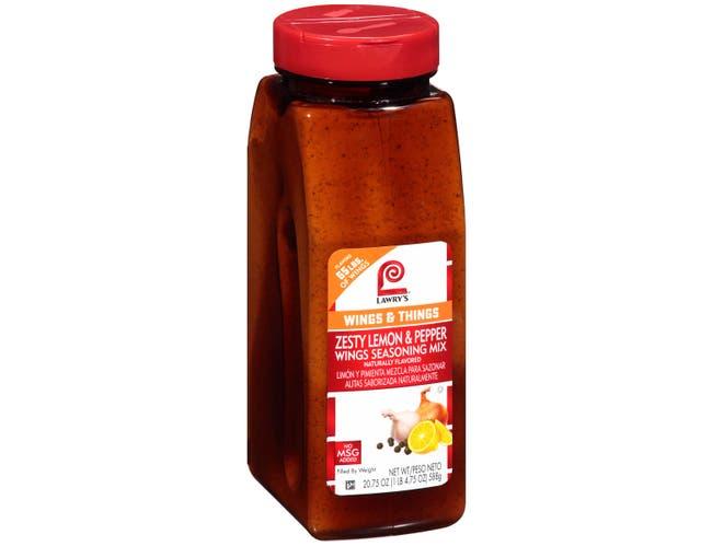 Lawrys Zesty Lemon Pepper Wing Seasoning, 20.75 Ounce -- 6 per case.