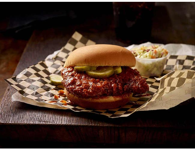 Tyson Fully Cooked Select Cut Breaded Nashville Hot Chicken Thigh Filet, 4.25 Ounce -- 44 per case.