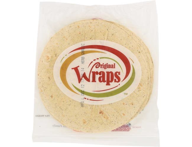 Mexican Original Wraps Herb Garlic Tortilla, 44 Ounce -- 12 per case.