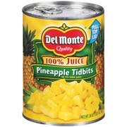 Del Monte Pineapple Tidbits in Juice, 20 Ounce Can -- 12 per case.