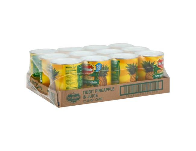 Del Monte Pineapple Tidbits in Juice, 20 Ounce Can -- 12 per case.