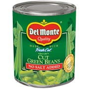 Del Monte No Salt Added Cut Green Beans, 8 Ounce -- 12 per case.