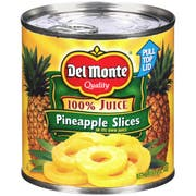 Del Monte Canned Sliced Pineapple in 100 Percent Juice, 15.25 Ounce -- 12 per case.
