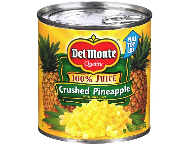 Del Monte Canned Crushed Pineapple in Juice, 15.25 Ounce -- 12 per case.
