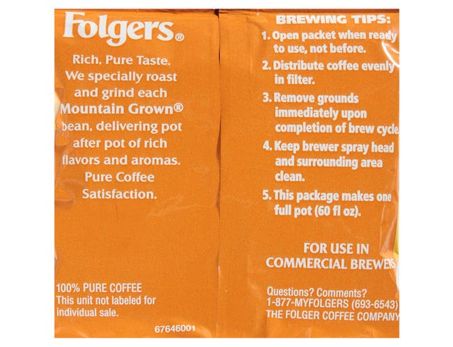 Folgers Caffeine Colombian Ground Coffee, 1.75 Ounce -- 100 per case.