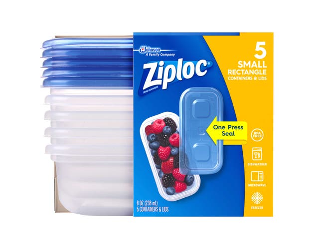 Ziploc Small Rectangle One Press Container, 5 count per pack -- 6 per case.