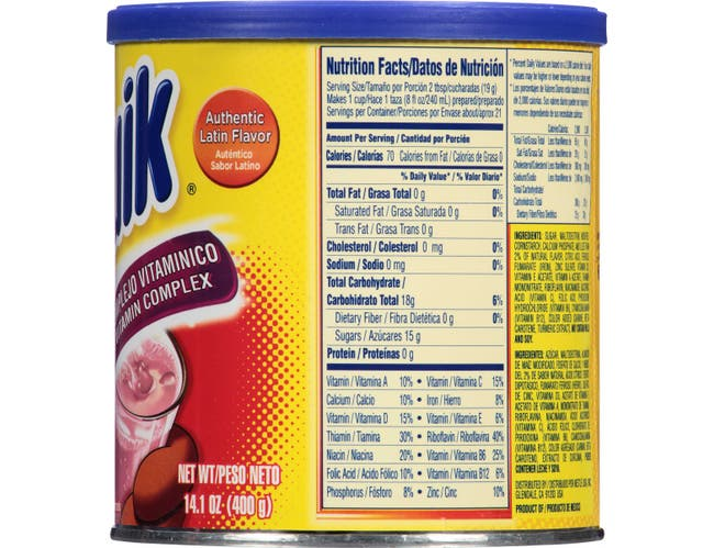 Nesquik Strawberry Flavored Powder, 14.1 Ounce Canister -- 12 per case.