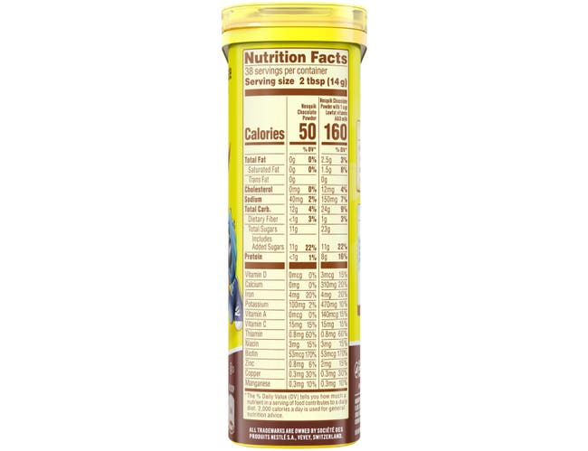 Nestle Nesquik Not Ready to Drink Chocolate Powder Beverage, 18.7 Ounce -- 12 per case.