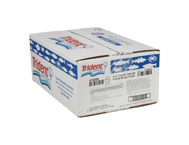 Trident Seafoods Oven Ready Battered Pollock Wedge, 10 Pound -- 1 each.