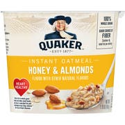 Quaker Express Cup Honey Almond Instant Oatmeal, 1.41 Ounce -- 12 per case.