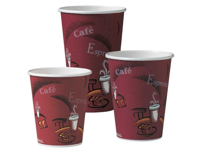 Solo Bistro Design Single Polystyrene Coated Lined Paper Hot Cup, 10 Ounce -- 1000 per case.