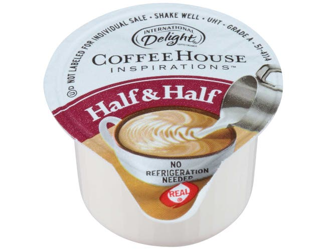 International Delight Coffee House Inspirations Portion Control Half and Half Unflavored Creamer -- 180 per case.