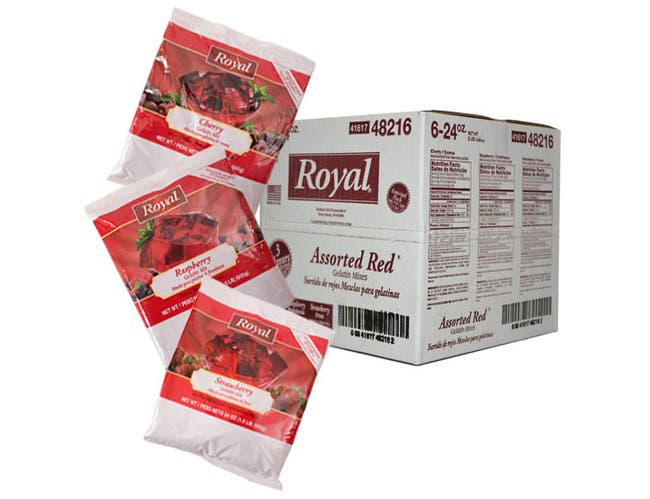 Royal Assorted Red Gelatin, 24 Ounce -- 6 per case.