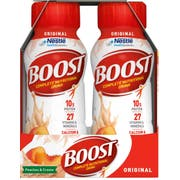 BOOST Peaches and Creme Original Nutritional Drink, 8 Fluid Ounce - 6 count per pack -- 4 packs per case