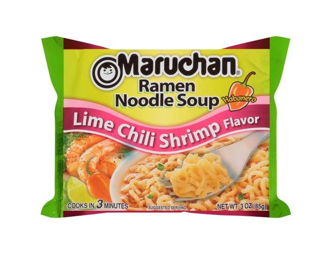 Maruchan Ramen Noodle Soup Lime Habanero Chili Shrimp Flavor - 3 oz. package, 24 per case