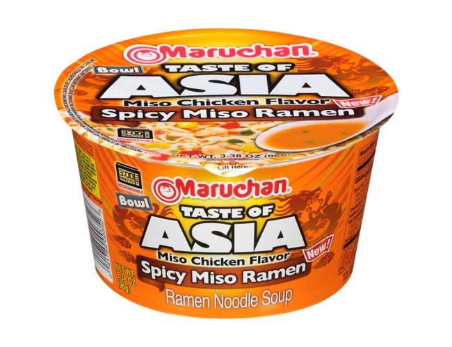 Maruchan Taste of Asia Miso Chicken Flavor Spicy Miso Ramen Bowl, 3.38 Ounce -- 6 per case.