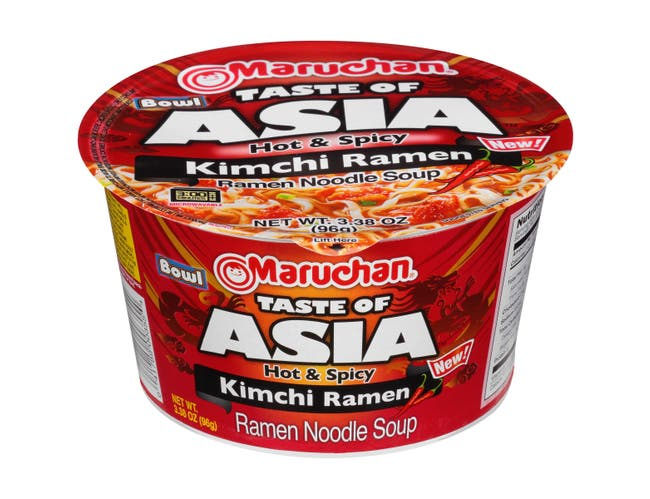 Maruchan Taste of Asia Hot and Spicy Kimchi Ramen Noodle Soup Bowl, 3.38 Ounce -- 6 per case.