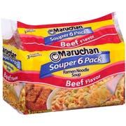 Maruchan Ramen Noodle Soup Beef Flavor 6 pack/ 18 oz. package -- 4 per case
