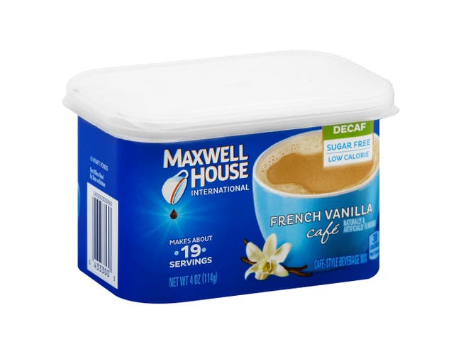 Maxwell House French Vanilla Decaffeinated Cafe Style Instant Beverage Mix, 4 Ounce -- 8 per case.
