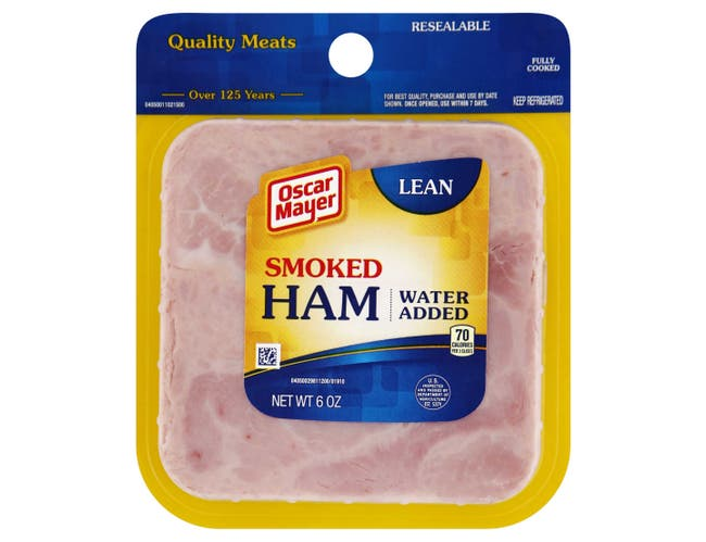 Oscar Mayer Square Sliced Cooked Smoked Ham, 6 Ounce -- 9 per case.