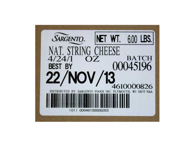 Sargento Single String Cheese Snack, 1 Ounce - 24 per pack -- 4 packs per case.