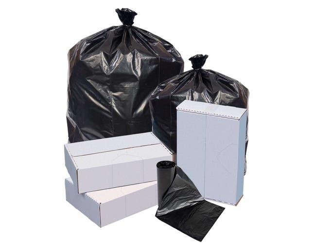 Pitt Plastics Extra Heavy Black Interleaved Can Liner, 60 Gallon Capacity -- 100 per case.