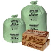 Pitt Plastics BioStar Compostable 30 x 36 1 Mil Green Perforated Can Liner Roll -- 150 per case.