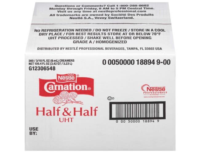 Nestle Carnation Half and Half Milk Creamer, 0.304 Fluid Ounce -- 360 per case.