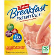Carnation Breakfast Essentials Strawberry Nutritional Drink Mix, 1.26 Ounce -- 60 per case