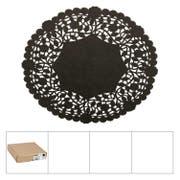 Lapaco Lancaster Lace Black Round Doilie, 8 inch -- 500 per case.