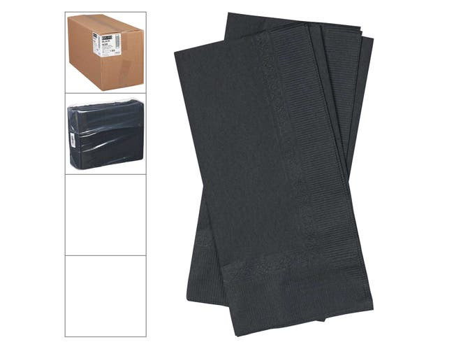 Lapaco 2 Ply Black Dinner Napkin, 15 1/2 x 16 inch -- 1000 per case.