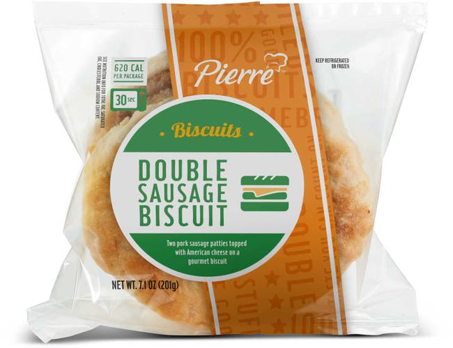 Advance Pierre Pierre Double Sausage Biscuit with Cheese, 7.1 Ounce -- 12 per case.