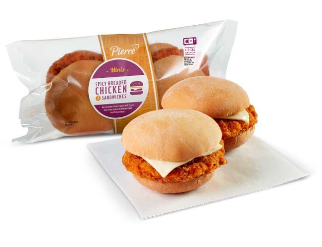 Pierre Mini Twin Spicy Breaded Chicken Sandwich, 5.5 Ounce -- 24 per case.