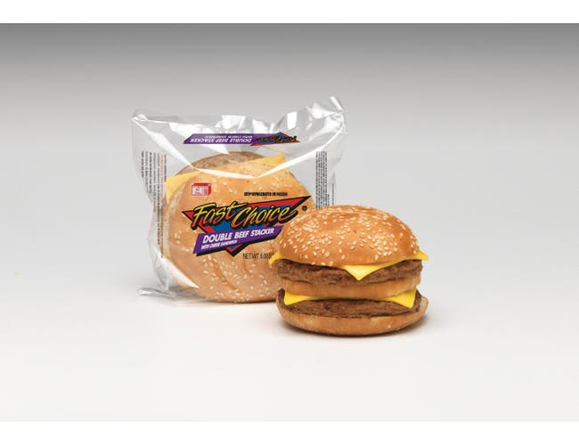 Advance Pierre Fast Choice Double Beef Stacker - Burger, 6 Ounce -- 12 per case.