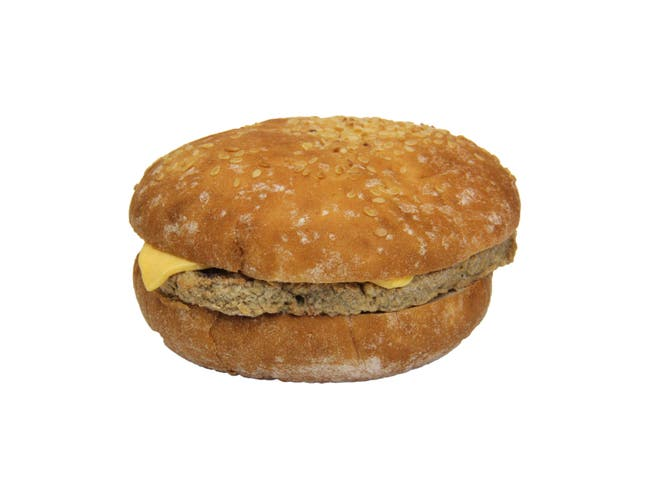 Advance Pierre Fast Choice Beef Charbroil Burger with Cheese, 4.85 Ounce -- 12 per case.