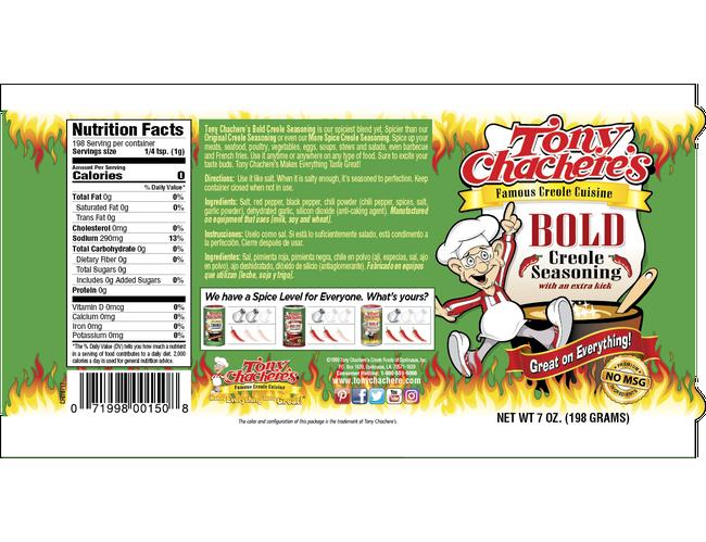 Tony Chacheres Bold Creole Seasoning, 7 Ounce -- 6 per case.