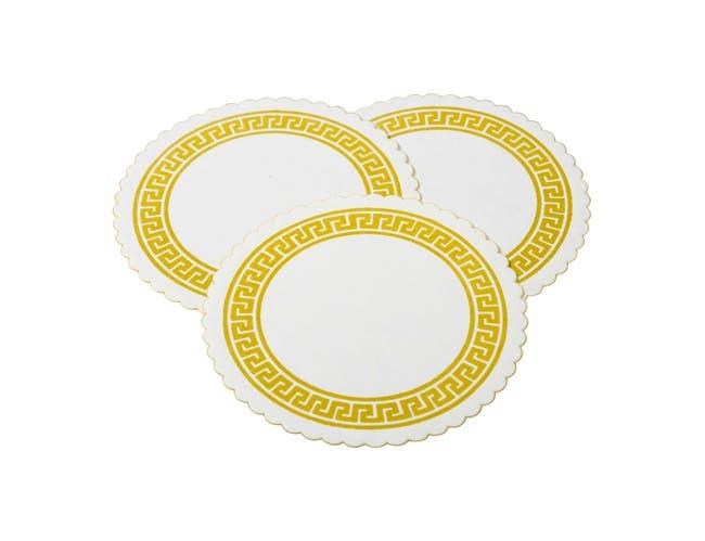 Royal Gold Greek Key Design Beer Coaster -- 10000 per case.